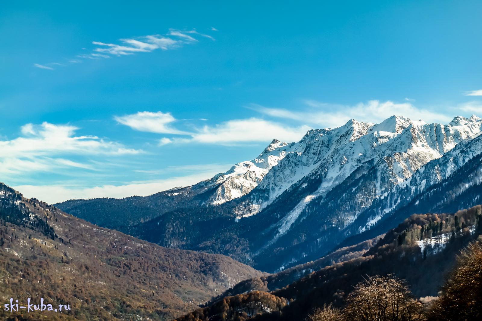 Вид на хребет Аибга, верховья реки Мзымта и вершины пик Сочи, Агепста, Ацетука,